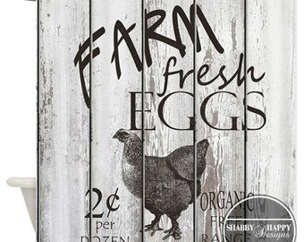Shower Curtain Art Design  / Farm Fresh Eggs Sign Painted  Country Slatted Wood Fence // Custom Bathroom Decor // 12 stitch-enforced eyelets