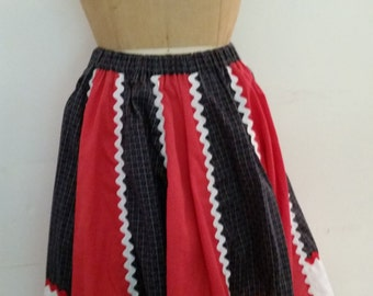Vintage Square Dance Skirt Red White and Blue Cotton Full Skirt with Rick Rack 1960's Dance Skirt Size Small to Medium