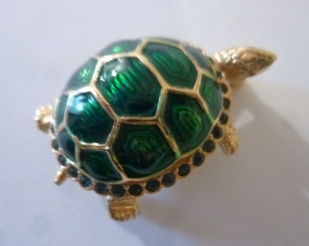 "Vintage Ciner Enamel and Rhinestone Turtle Brooch 1 1/4"" 80's Designer Costume Jewelry"