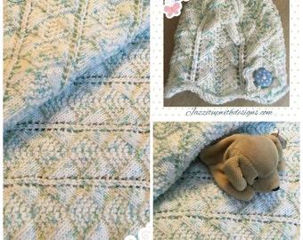 Baby Receiving Blanket Boy or Girl Blue Green specs matching Flapper Hat Sirdar Snuggly Yarn