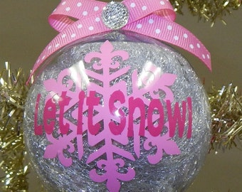 Let it Snow Snowflake Ornament-Can be Customized!