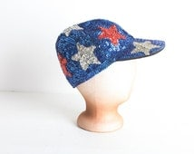 Vintage Red, White and Blue Sequined Baseball Cap