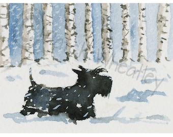 Scottish Terrier Dog, Art Print 'Scottie Dog in the snow'  #15