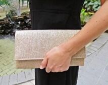 Bridesmaids clutch gold clutch shimmering sparkling glittering wedding bridal evening purse