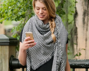 Black & White Houndstooth Blanket Scarf Shawl Wrap - May be Embroidered with Name or Monogram