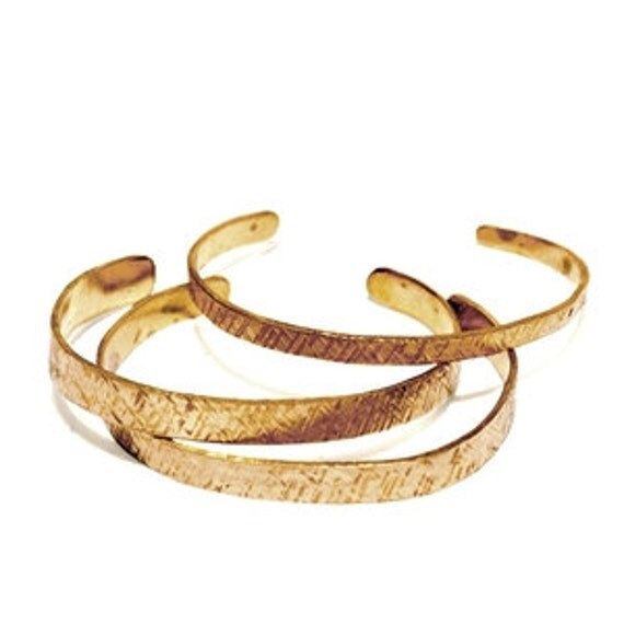 3--Skinny Textured Recycled Brass Stacking Cuffs