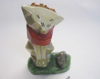 Vintage Japanese Lusterware Cat & Mouse Pin Holder