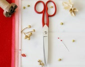 "Large Scarlet Scissors - Large Red Shears - Large Fabric Scissors - Large Sharp Scissor - Wool Felt Scissors - 7"" Scissors - Red Scissors"