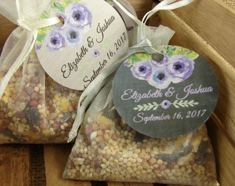 Birdseed Wedding Favors In Natural Burlap Bags With Vintage