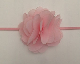 Light pink chiffon flower headband