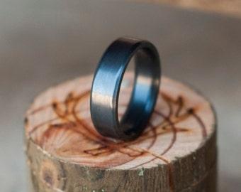 Mens Wedding Band Fire-Treated Black Zirconium Ring - Staghead Designs
