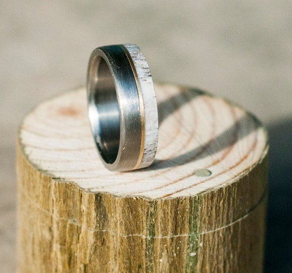 Mens Wedding Band Elk Antler Ring W 10K Gold By StagHeadDesigns