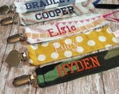 Personalized Pacifier Clip, Monogrammed Paci Holder