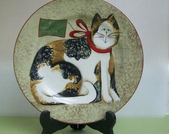 Set of 3 Sakura Dessert/Salad Plates-Fiddlestix-Christmas Cats