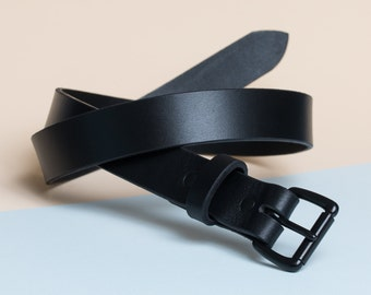 Leather Daily Belt | Black on Black
