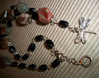 Dragonfly Charm & Black Beaded Necklace, Large Stone Beads Necklace