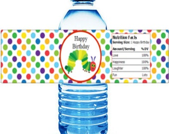 Printable Hungry Caterpillar Happy Birthday Water Bottle Labels