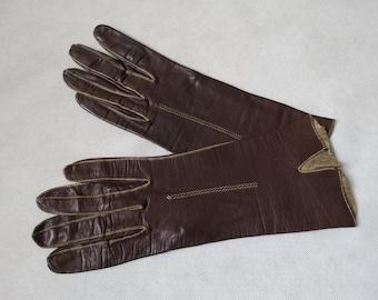 Brown Vintage Leather Gloves