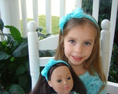 """Girl and 18"""" Doll Matching Set of Woven Tuxedo Headbands in Hot Pink, Pink, White, Red, Black, Aqua, Turquoise, Yellow, Lime Green"""