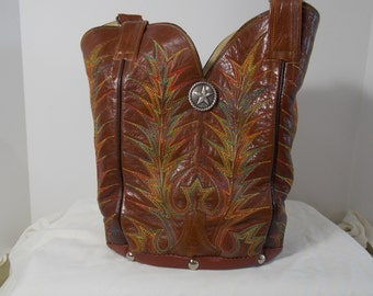 Brown with multi colored stitching