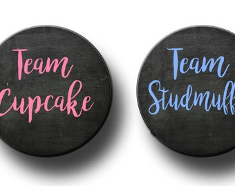Team Cupcake Team Studmuffin Gender Reveal Party Favors 2.25 inch Pinback Buttons Pin Back buttons badges Baby shower pins