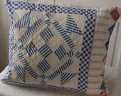 Upcycled Farmhouse Vintage patchwork quilt pillow cover 14x14
