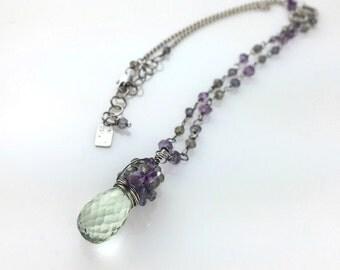 Green Amethyst gemstone necklace