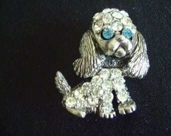 Vintage Rhinestone Dog with Floppy Ears Brooch
