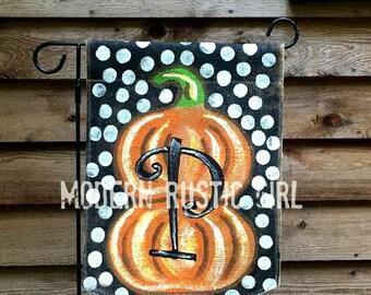 Burlap Garden Flag with Double Pumpkin and Monogram