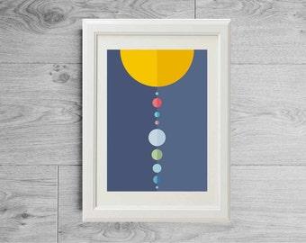 Solar system print - Minimalist print planets - Scandinavian print space sun earth mars - Scandinavian minimalist poster - Space print