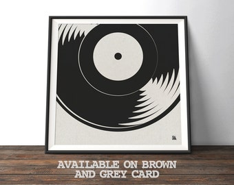 Vinyl Record Music Poster - 'Now Spinning' - Minimalist gift for musicians, record and music lovers. Recycled retro inspired wall art print.