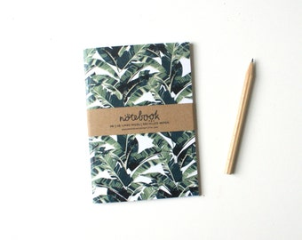 A6 notebook: banana leaf pattern, lined paper, tropical, print notepad, recycled