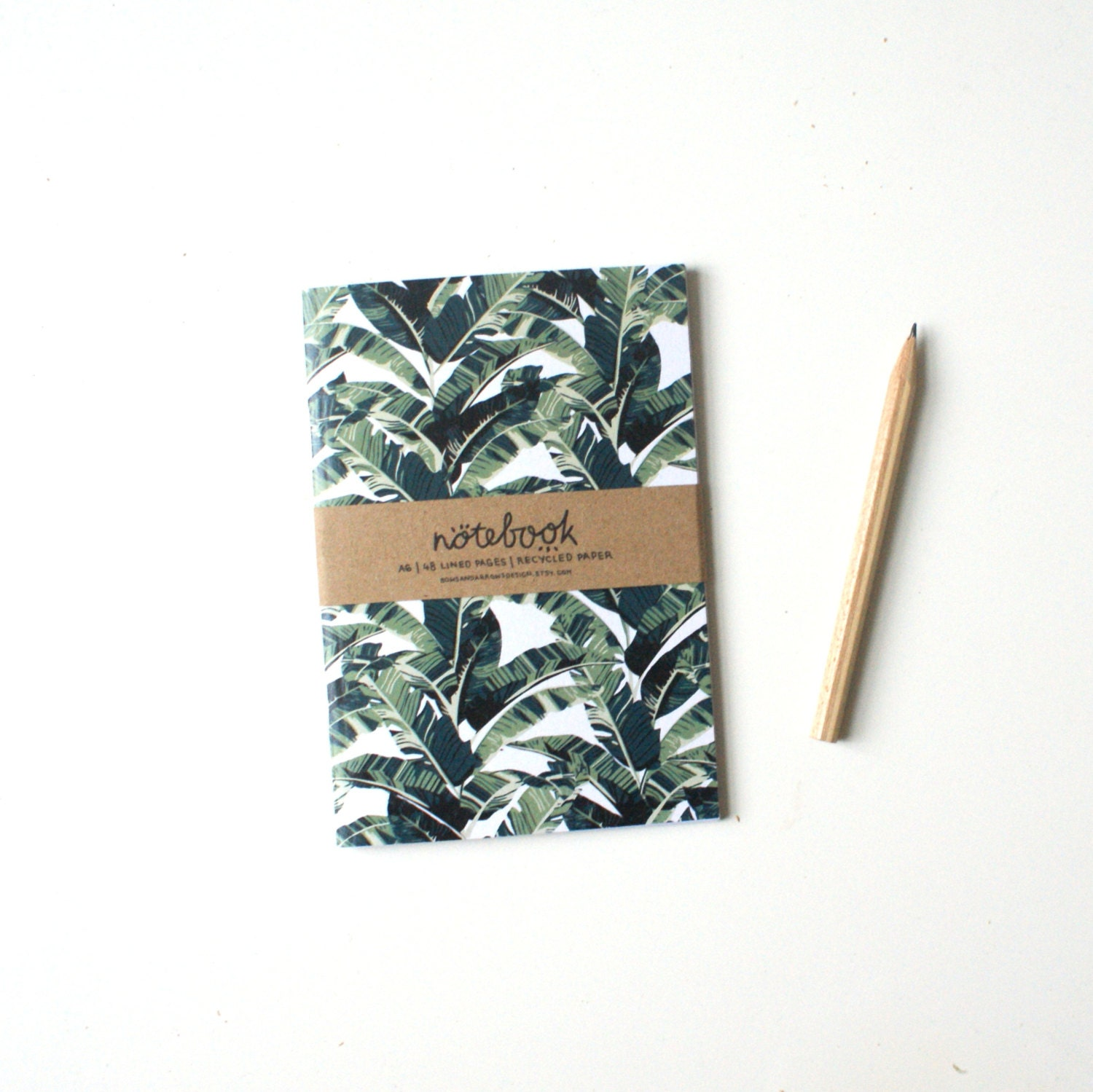 A6 Notebook: Banana Leaf Pattern Lined Paper Tropical Print
