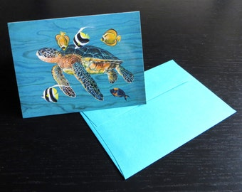 Honu with Fish Greeting Card