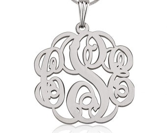 "Sterling Silver Twisted Monogram Necklace 1.2"" with chain"