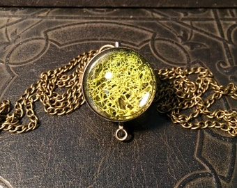 Organic Lichen Specimen Nature Ball Moss Terrarium Orb Living Bright Green Magnifier Sphere Spinner Bronze Metal LONG Necklace
