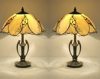 Pair table lamps - Lampshades made of stained glass and natural Baltic amber. Bedside lamps. Stained glass table lamps. Mid century lamp