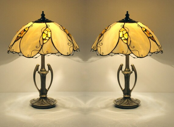 Pair Table Lamps Lampshades Made Of Stained Glass And