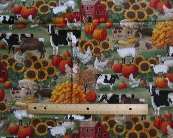 66 Inches Autumn/Fall Harvest Farm Animals Cotton Fabric