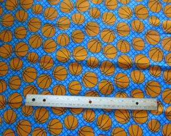 Blue with Orange Basketball Flannel Fabric by the Yard