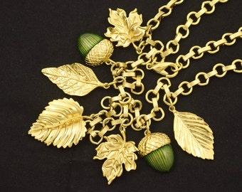 Dangling Enameled Acorns & Leaves Charm Necklace 1980s ~ Lot 111