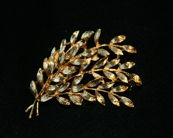 Vintage Gold Toned Leaves Branches Spray Brooch Pin