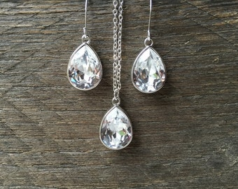 Teardrop Crystal Set Necklace Earring Swarovski Bridal Set Pear Pendant on Silver or Gold Chain and French Hooks
