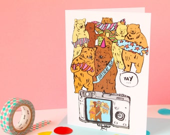 SALE! Bright Colourful Bear Party Illustration Birthday and Celebration Greeting Card