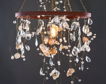 Quartz Crystal and Iron Chandelier, Rusty Patina with Edison bulb. Fire and Ice