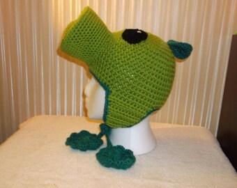 Plants Vs Zombies inspired Peashooter crochet earflap hat