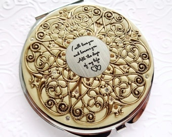 Vintage Wedding Golden I love you Compact Mirror Extra Large Custom Color, Groom to Bride Gift, Wedding Party Gifts real Swarovski Crystals