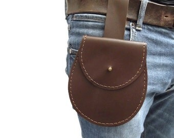 Leather Belt Pouch, Leather Belt Bag, Leather Hip Bag, Leather Belt Bag, Travel Pouch, Brown Italian Leather, Hand Stitched