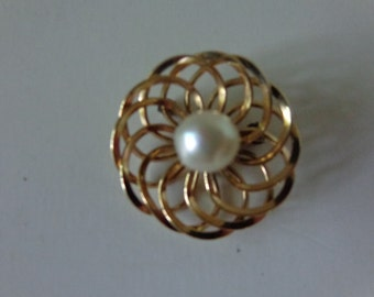 Vintage 1960's Pearl and Gold Swirl Pin/Brooch. 1/20 12K G F. Marked H C. FREE SHIPPING! Expert packaging! BUY today!