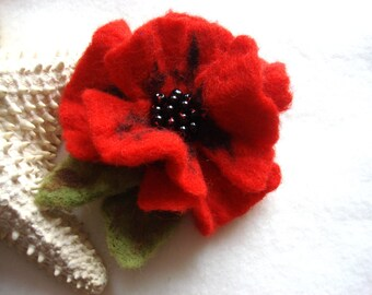 Red Poppy Felted Flower Brooch Pin,Wool Felt, Felted Wool, Felt Brooch, Flower Brooch, Jewelry, Felt Flower Pin, Beaded Flower